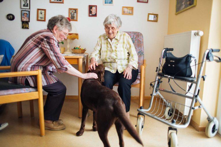 Zwei Damen mit Hund